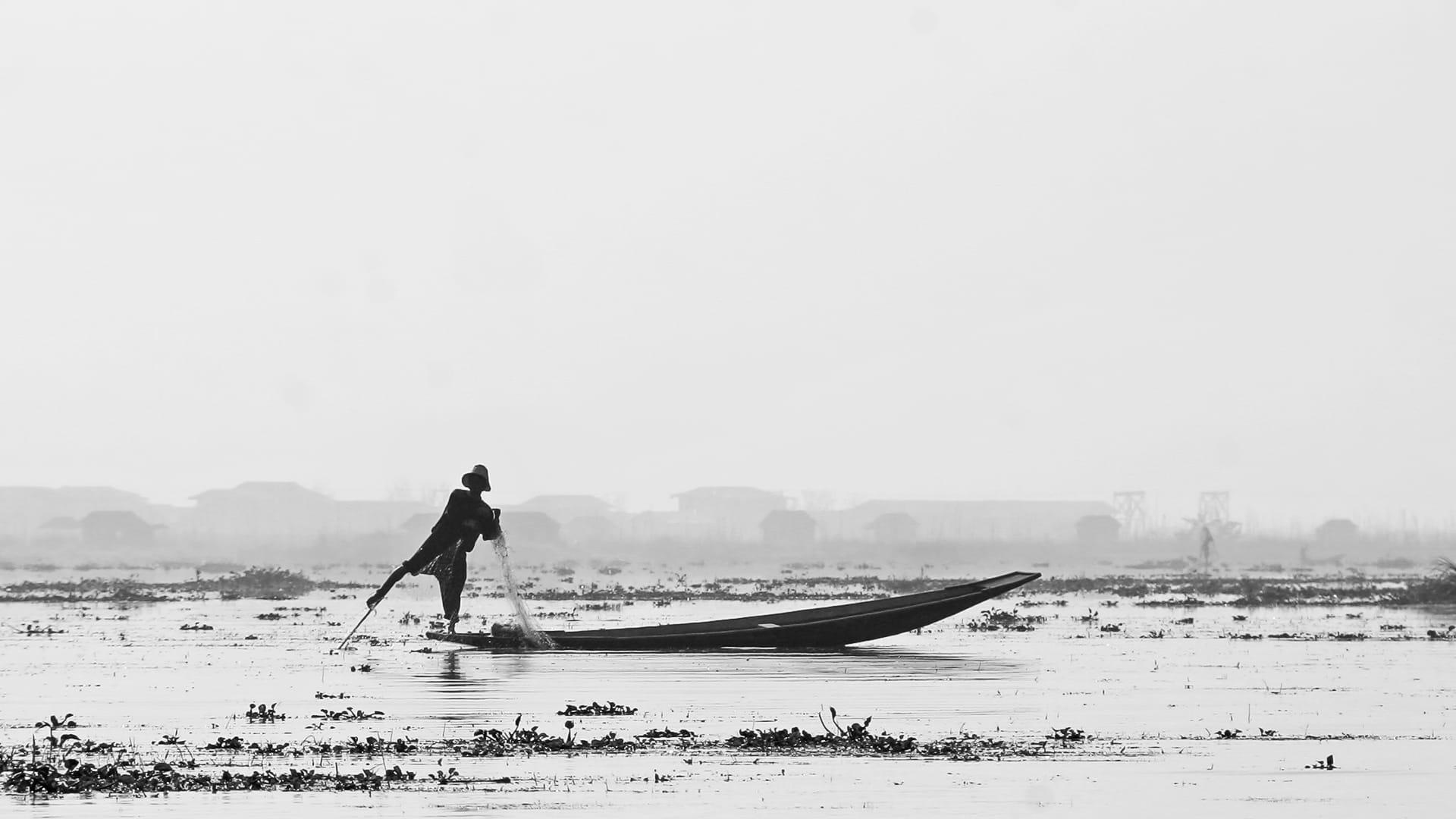 Pescador en mig de la boira