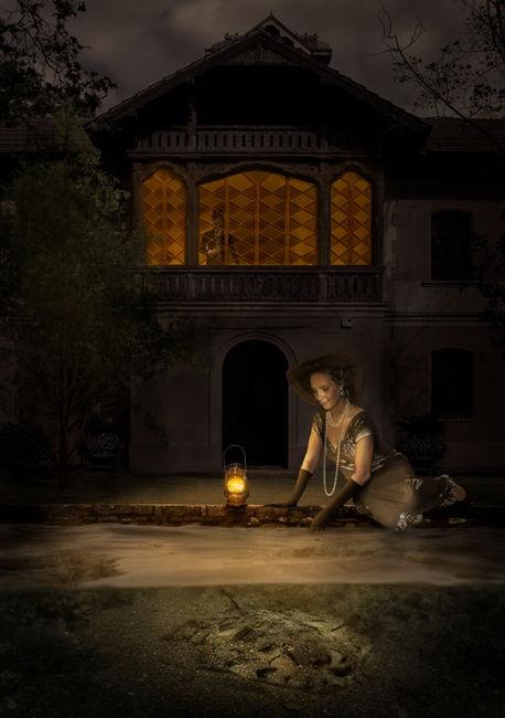 Georgina en el estanque.