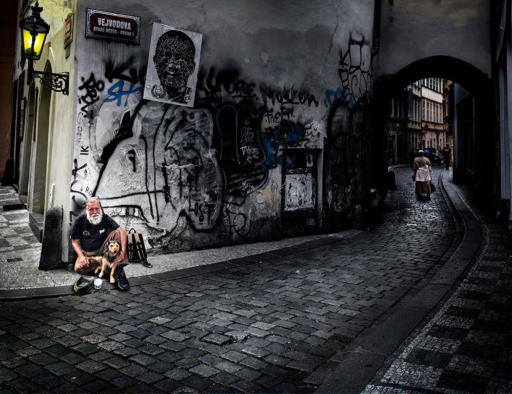 Mendigo en Praga