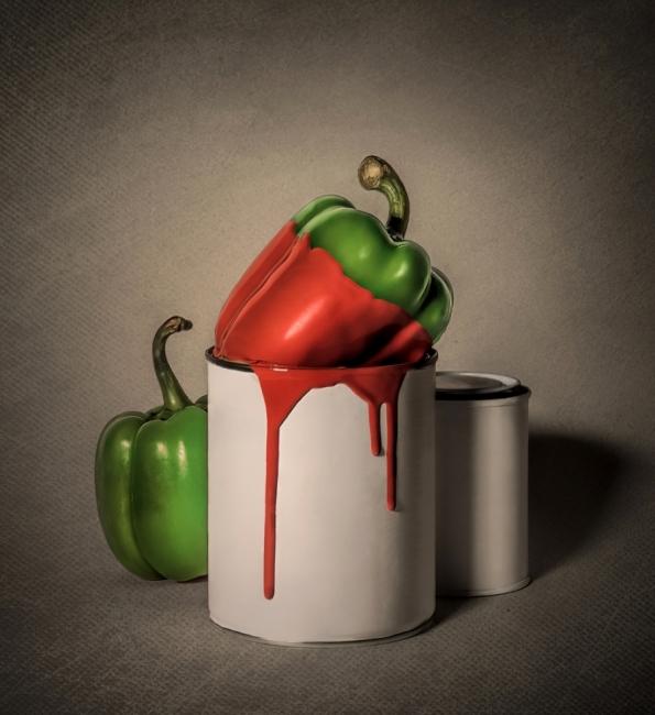Pimiento verde - pimiento rojo