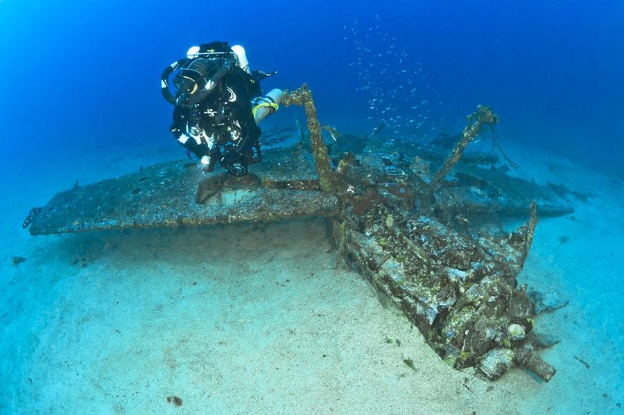 A plane in the deep blue sea
