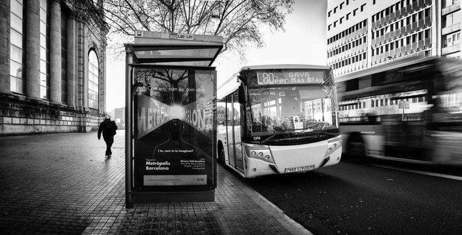 Caminante y bus