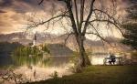 Atardecer en el lago Bled