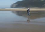 Caminante solitario en Berria